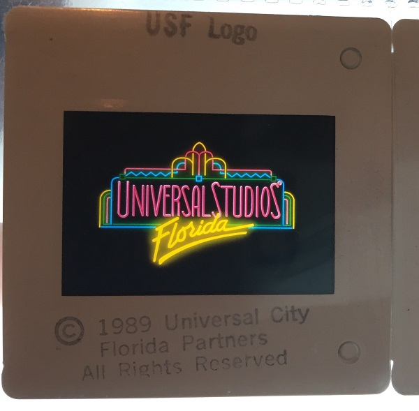 Original 1989 Universal Studios Florida 35mm PRE-OPENING Advertising Slide LOT of EIGHT (8). UNIVERSAL STUDIOS PARTNERS.
