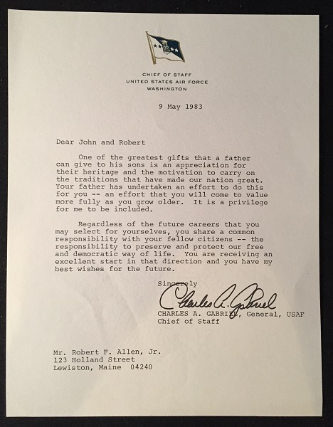 Chief of Staff - United States Air Force CHARLES A. GABRIEL Typed Letter Signed (RE: Citizens responsibility to preserve and protect our democratic way of life). Charles A. GABRIEL.