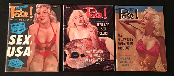 Run of THREE 1955 Pose! Magazines (Issues 5, 6 & 7). Jules WARSHAW, et all.