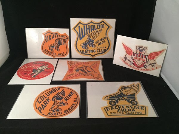LOT X 7 Original 1950's Roller Skating Rink Advertising Stickers (VA, NJ, MA). ROLLER SKATING.