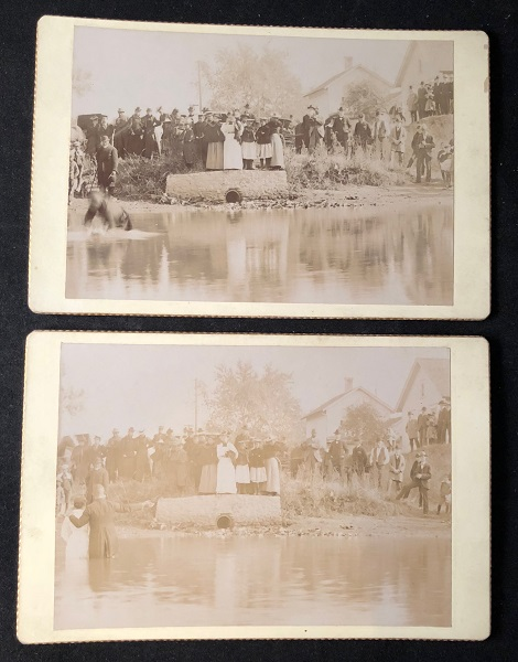 TWO Circa 1890 African American Baptism Cabinet Card Photographs. AFRICAN AMERICAN BAPTISM.