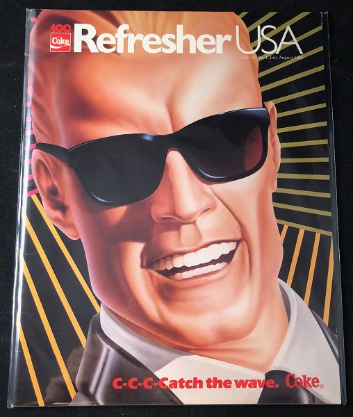 RARE August, 1986 REFRESHER USA Magazine for Coca-Cola Employees; INTRODUCING MAX HEADROOM AS THE SPOKESMAN FOR NEW COKE! COCA-COLA, Matt FREWER, Max HEADROOM.