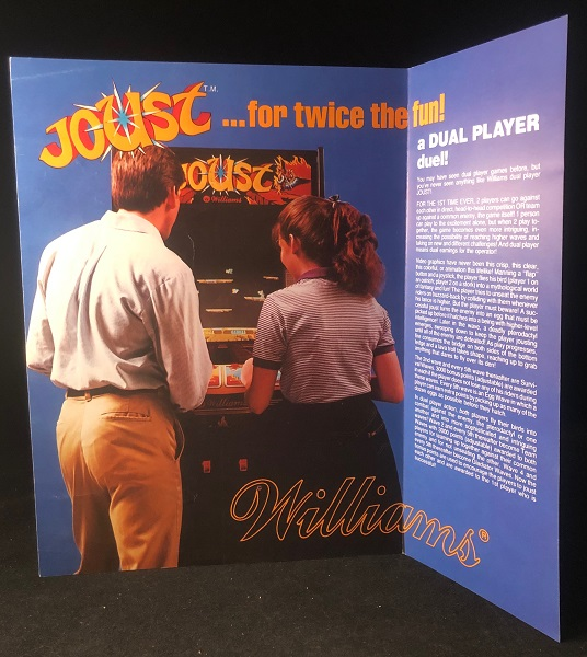 Original 1982 Fold-Out JOUST Video Game Advertising Flyer. WILLIAMS ELECTRONICS.