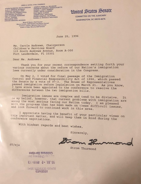 Senator Strom Thurmond (SC) 1996 Typed Letter Signed RE: IMMIGRATION CONTROL. Strom THURMOND.