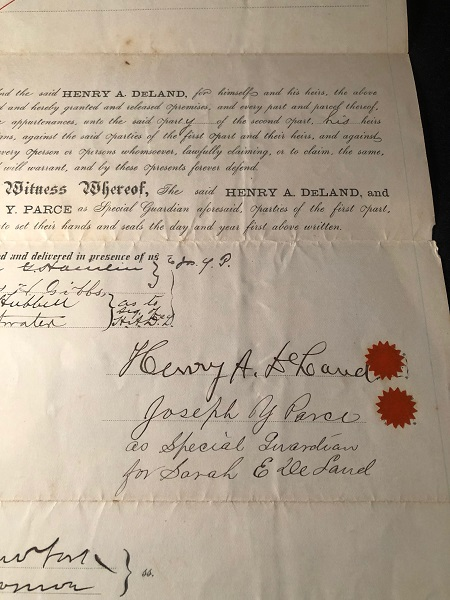 RARE Original 1885 Land Purchase Agreement SIGNED BY HENRY A. DELAND (Central Florida Pioneer and Founder of Deland, Florida). Henry A. DELAND, J. Willis WESTLAKE, et all.
