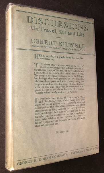 Discursions on Travel, Art and Life (FIRST AMERICAN EDITION). Osbert SITWELL.