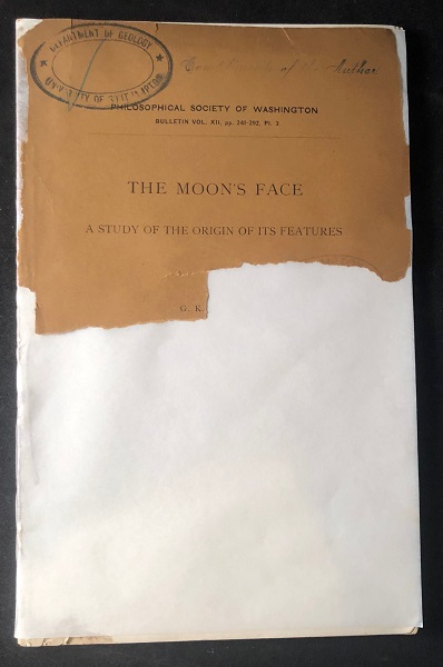 The Moon's Face: A Study of the Origin of It's Features. Grave Karl GILBERT.