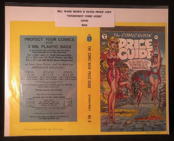SIGNED Original Cover PROOF of the 1978 Overstreet Comic Book Price Guide. Bill WARD.