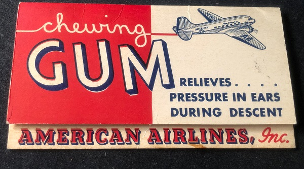 Circa 1940's American Airlines Wrigley's Chewing Gum Advertising Hand-Out. American Airlines.