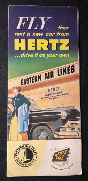 1953 Eastern Air Lines & Hertz Car Rental Brochure (CUBA INTEREST). EASTERN AIR LINES.