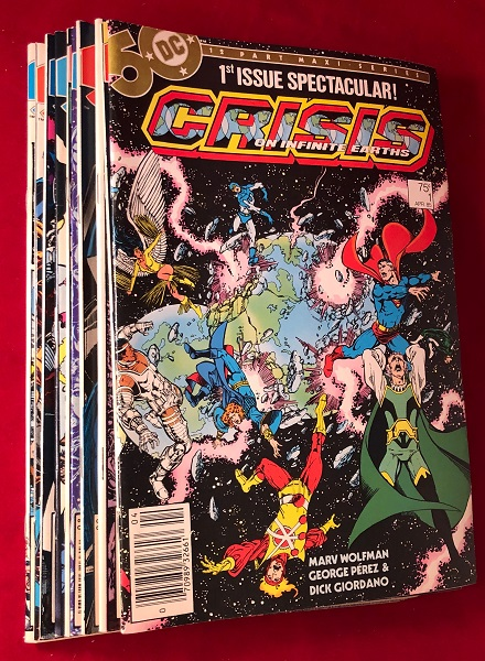 "Crisis on Infinite Earths (ORIGINAL 1985 FIRST PRINTING 12 COMIC RUN); THE 1985 DEATH OF ""SUPERGIRL"" AND THE BARRY ALLEN ""FLASH""!!! Marv WOLFMAN, George PEREZ, Dick GIORDANO, et all."