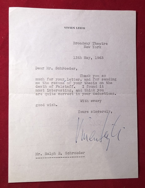 """May 13, 1963 Letter Signed by Vivien Leigh [DURING HER """"TOVARICH"""" RUN, FOR WHICH SHE WON A TONY AWARD]. Vivien LEIGH."""