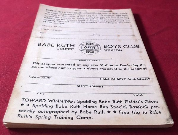 1934 ESSO Babe Ruth Boys Club Contest Coupon (COMPLETE BOOK OF 50 COUPONS). Babe RUTH.
