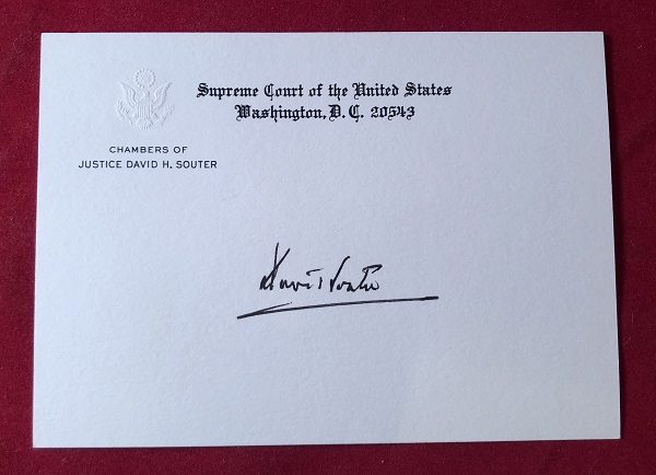 Signed OFFICIAL Supreme Court Chambers Card. Justice David SOUTER.
