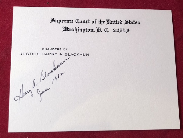 Signed OFFICIAL Supreme Court Chambers Card. Justice Harry BLACKMUN.