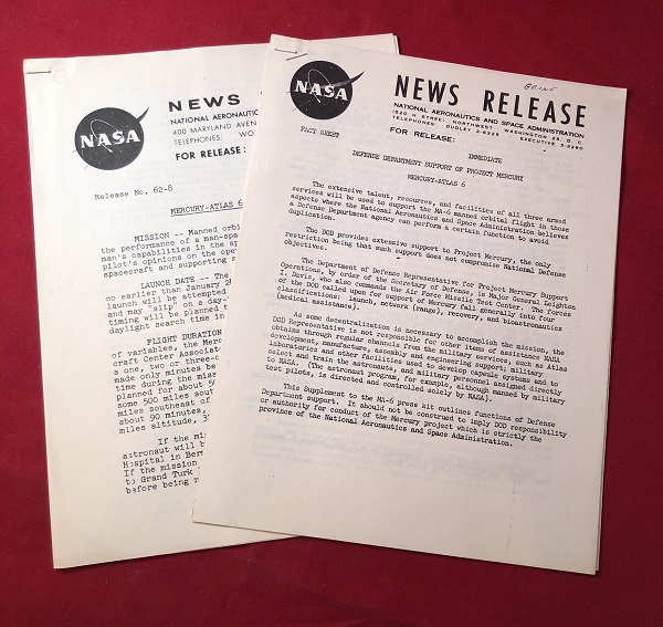 """Lot of 3 Original 1962 """"Mercury - Atlas 6"""" NASA Press News Releases (From Collection of Ken Grine, Chief of Public Relations). NASA / PROJECT MERCURY."""