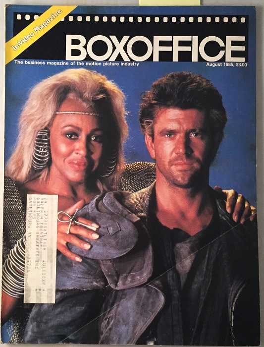 Box Office Magazine (August, 1985) Mad Max Beyond Thunderdome Cover; EARLY REVIEW OF THE GOONIES THAT IS LESS THAN FLATTERING. Jimmy SUMMERS, et all.