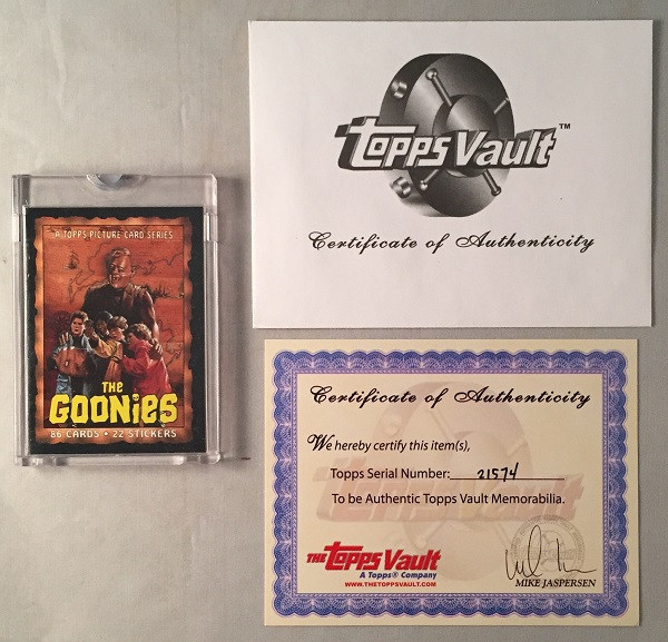 1985 The Goonies ORIGINAL TOPPS VAULT PRODUCTION USED CARD #1. The Goonies.