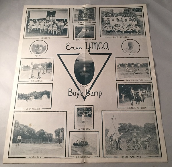 "1936 Folding Brochure for the ERIE Y.M.C.A. Camp for Boys - Camp ""Unaliyi"" Max DARONE, et all."