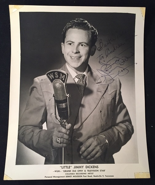 """Vintage Signed 8X10 WSM / Grand Ole Opry Publicity B/W Photograph. Autographs, """"Little"""" Jimmy DICKENS."""
