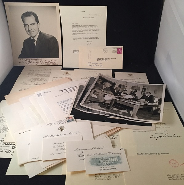 Personal Letters and Ephemera from the Collection of Percival Brundage, Director of the US Office of Management and Budget under Eisenhower. Dwight EISENHOWER, Gerald FORD, Richard NIXON, Percival BRUNDAGE, et all.