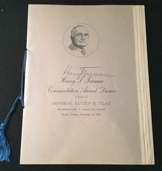 "Original Program ""Harry Truman Commendation Award Dinner in Honor of General Lucius D. Clay""..."