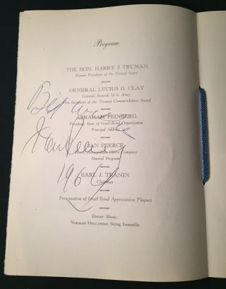 "Original Program ""Harry Truman Commendation Award Dinner in Honor of General Lucius D. Clay"" (SIGNED BY PRESIDENT HARRY TRUMAN)"
