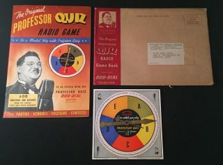 The Original Professor Quiz Radio Game (Game booklet with original spinner and mailing envelope)....