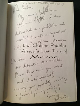 The Chosen People: Africa's Lost Tale of Meroe (SIGNED ASSOCIATION COPY)