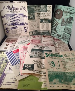LOT of 14 1960's Miami Beach Motel Flyers. Miami Beach Tourism