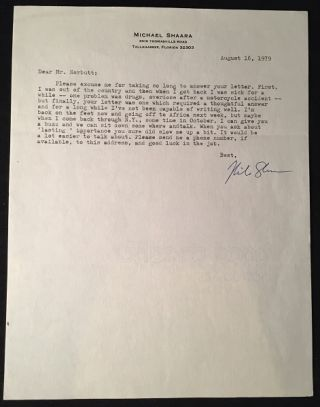 Original August 16, 1979 Typed Letter Signed From Pulitzer Prize Winner Michael Shaara (CANDID DISCUSSION OF HIS FAMOUS MOTORCYCLE ACCIDENT AND SUBSEQUENT DRUG OVERDOSE)