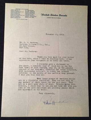 United States Senator and US Secretary of State CORDELL HULL November 23, 1932 Signed Typed...