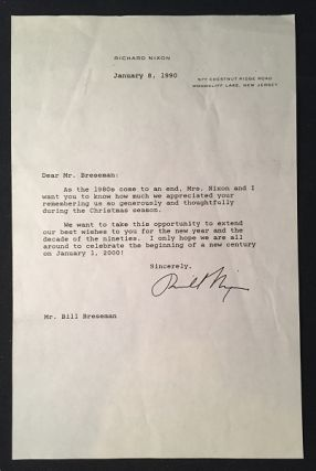 President Richard Nixon January 8, 1990 Typed Letter Signed (TLS); President Nixon says goodbye...