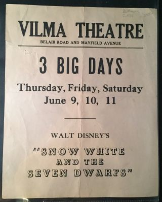 Snow White and the Seven Dwarfs Circa 1939 ORIGINAL TWO-SIDED ADVERTISEMENT
