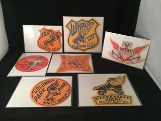 LOT X 7 Original 1950's Roller Skating Rink Advertising Stickers (VA, NJ, MA). ROLLER SKATING