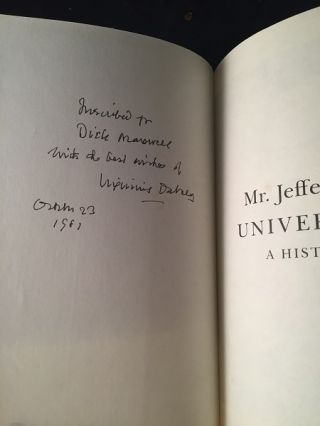 Mr. Jefferson's University (SIGNED FIRST PRINTING)
