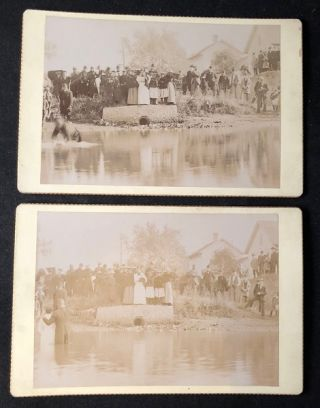 TWO Circa 1890 African American Baptism Cabinet Card Photographs. AFRICAN AMERICAN BAPTISM