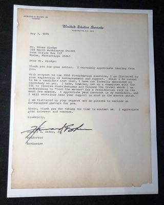 "Senator Howard Baker 1979 Typed Letter Signed (TLS) - ""I do intend to be a candidate next year..."" Autographs, Howard BAKER."