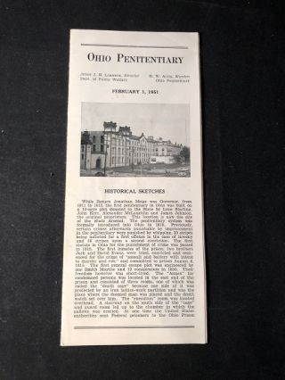 Ohio Penitentiary (1951 Advertising Brochure). Judge J. H. LAMNECK, R. W. ALVIS, et all
