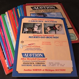 Archive of 39 Original 1984-2003 Amusement Park Auction Brochures (From Norton of Michigan Auctioneers)
