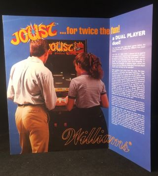 Original 1982 Fold-Out JOUST Video Game Advertising Flyer. WILLIAMS ELECTRONICS