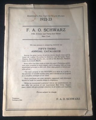 1922-23 F.A.O. Schwarz 82 PP Toy Catalog (w/ Unused Order Form). F. A. O. SCHWARZ