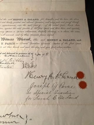 RARE Original 1885 Land Purchase Agreement SIGNED BY HENRY A. DELAND (Central Florida Pioneer and...
