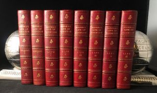 Boswell's Life of Johnson + Journal of a Tour to the Hebrides (8 VOL FINELY BOUND LEATHER SET)....