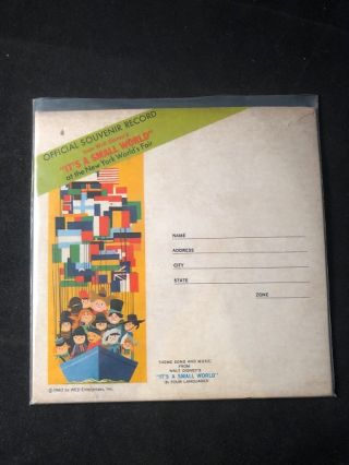 "Original 1963 ""It's a Small World"" Souvenir Record (From the 1964-65 New York World's Fair). Walt..."