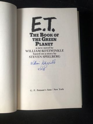 E.T. The Book of the Green Planet (SIGNED FIRST EDITION)