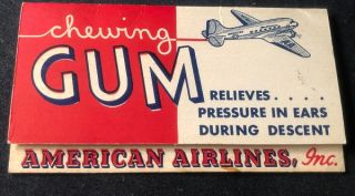 Circa 1940's American Airlines Wrigley's Chewing Gum Advertising Hand-Out. American Airlines