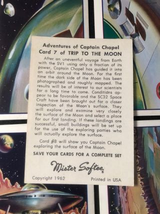 """1962 Mister Softee Complete 10 Card Set """"Adventures of Captain Chapel"""" (Issued in the same year as the JFK """"We choose to go to the Moon"""" speech at Rice University)"""