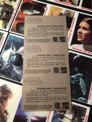 1980 Burger King STAR WARS Trading Card Complete Set of 36 (ON ORIGINAL UNCUT SHEETS AS ISSUED)