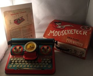 Official 1950's Mouseketeer Toy Typrewriter IN ORIGINAL BOX W/ ORIGINAL INSTRUCTION SHEET. Toys,...